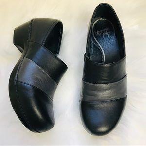 Dansko clogs slip on shoes black and gray stripe